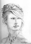 Taylor Swift Drawings - Portrait-Taylor Swift by Jim Hubbard