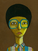 Looking At Camera Digital Art - Portrait With Glasses by Jenny Meilihove
