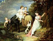 Hall Painting Prints - Portraits of the Children of the Rev. Joseph Arkwright of Mark Hall Essex Print by John Hayter