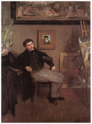 Portriat Prints - Portriat of James Tissot Print by Edgar Degas