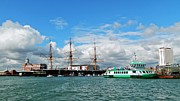 Warships Photos - Portsmouths historic dockyard by Sharon Lisa Clarke