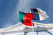 Patriotism Prints - Portugal and Azores flags Print by Gaspar Avila