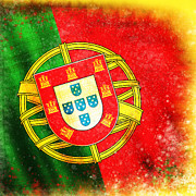 Drawing Pastels Metal Prints - Portugal Flag  Metal Print by Setsiri Silapasuwanchai