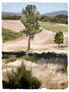 Trail Mixed Media Prints - Portugal Landscape Print by Russell Pierce