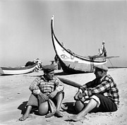 Two Fishing Men Posters - Portuguese Beach Poster by Bert Hardy