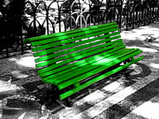 Selective Coloring Framed Prints - Portuguese Bench Framed Print by Roberto Alamino