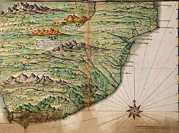 Colonization Prints - Portuguese Map Showing Detailed Views Print by Everett