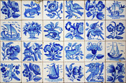 Hand Painted Framed Prints - Portuguese Tiles Framed Print by Carlos Caetano
