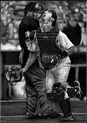New York Yankees Drawings Originals - Posada by Jerry Winick
