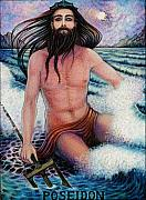 Neptune Drawings Prints - Poseidon Print by Debra A Hitchcock
