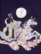 Roman Tapestries - Textiles Posters - Poseidon Rides the Sea on a Moonlight Night Poster by Carol  Law Conklin