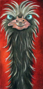 Ostrich Painting Framed Prints - Poser 3 Framed Print by Leah Saulnier The Painting Maniac