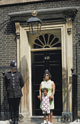Doorbell Posters - Posing at 10 Downing St. Poster by Carl Purcell