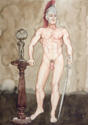 Physique Paintings - Posing Nude Spartan by The Artist Dana