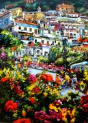Tuscan Sunset Paintings - Positano by Gera