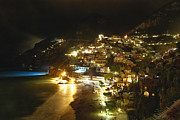 Positano Nightscape Print by George Oze