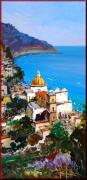 Italian White Poppy Paintings - Positano seascape by Antonio Iannicelli