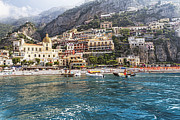 European Union Prints - Positano Seaside View Print by George Oze
