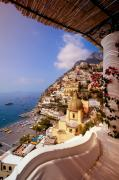 Church Prints - Positano View Print by Neil Buchan-Grant