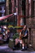 Post Alley Framed Prints - Post Alley Musician Framed Print by David Patterson