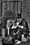 Post Alley Framed Prints - Post Alley Musician in Black and White Framed Print by David Patterson