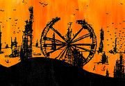 Wires Drawings Prints - Post Apocalyptic Carnival Skyline Print by Jera Sky