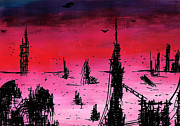 Red Buildings Drawings Framed Prints - Post Apocalyptic Desolate Skyline Framed Print by Jera Sky