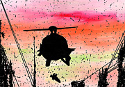 Skyline Drawings Posters - Post Apocalyptic Helicopter Skyline Poster by Jera Sky