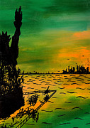 Sunset Drawings Originals - Post Apocalyptic New York Skyline by Jera Sky