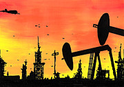 Skyline Drawings Posters - Post Apocalyptic Oil Skyline Poster by Jera Sky