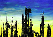 Outsider Drawings Framed Prints - Post Apocalyptic Skyline 2 Framed Print by Jera Sky
