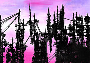 Wires Drawings Prints - Post Apocalyptic Skyline Print by Jera Sky