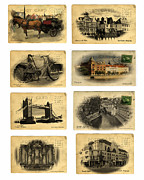 Bicycle Collage Prints - Post Cards From Europe 2 Print by Cecil Fuselier