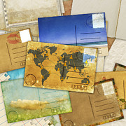 Old Map Digital Art Prints - Postcard And Old Papers Print by Setsiri Silapasuwanchai