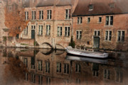 Belgian Prints - Postcard Canal II Print by Joan Carroll