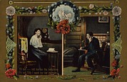 Conversations Art - Postcard Showing Man And Woman Having by Everett