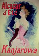 Evening Dress Painting Prints - Poster advertising Alcazar dEte starring Kanjarowa  Print by Jules Cheret