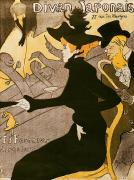 Fan Metal Prints - Poster advertising Le Divan Japonais Metal Print by Henri de Toulouse Lautrec