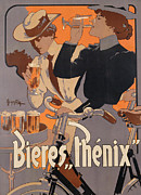 Bicycles Framed Prints - Poster advertising Phenix beer Framed Print by Adolf Hohenstein