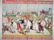 Entertainment Painting Prints - Poster advertising the Barnum and Bailey Greatest Show on Earth Print by American School