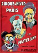 Advertisement Painting Prints - Poster advertising the Fratellini Clowns Print by French School