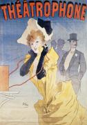Vintage Telephone Prints - Poster Advertising the Theatrophone Print by Jules Cheret