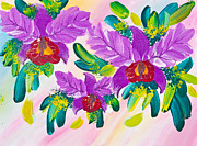 Mongkol Chakritthakool Prints - Poster Color Drawing Flowers Print by Mongkol Chakritthakool