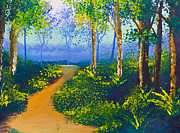 Mongkol Chakritthakool Metal Prints - Poster Color Drawing Walk Way In Forest Metal Print by Mongkol Chakritthakool