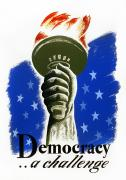 Mid-20th Framed Prints - POSTER: DEMOCRACY, c1940 Framed Print by Granger
