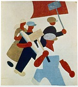 Russian Revolution Posters - Poster Depicting Marching Protestors During Russian Revolution Poster by Photos.com