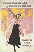 Vintage Woman Paintings - Poster depicting women making munitions  by English School