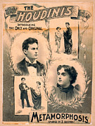 Harry Houdini Photos - Poster Featuring Harry Houdini And Wife by Everett