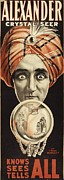 1910s Portrait Posters - Poster For Alexanders Magic Act Poster by Everett