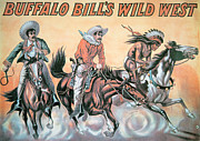 Wild Painting Framed Prints - Poster for Buffalo Bills Wild West Show Framed Print by American School
